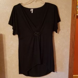 Black Studio Y shirt with bead detail in center
